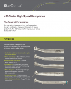 Download 430 Series High-Speed Handpieces Brand Brochure Insert Sheet