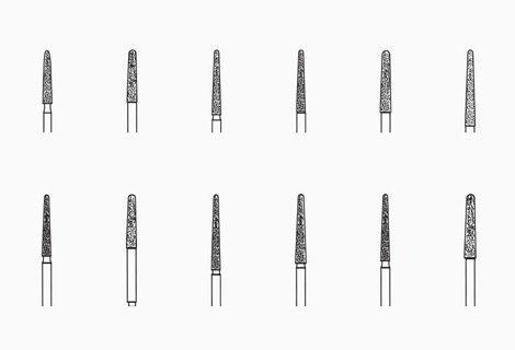 Different types of diamond burs