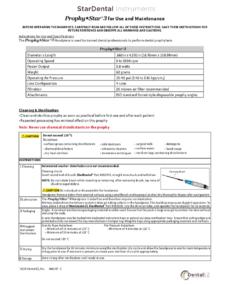 Download Prophy Star 3 Maintenance Sheet